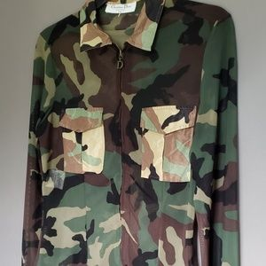 Christian Dior Boutique camouflage sheer top sz8
